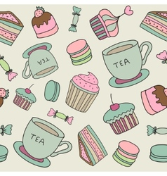 hand drawn cakes sweets macaroons tea cup seamless vector image