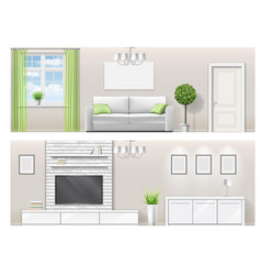 Interior of a bright living room with furniture vector