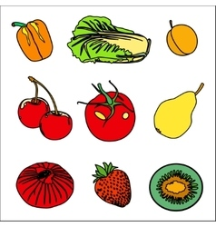 Set of Fruits vegetables and berries vector image