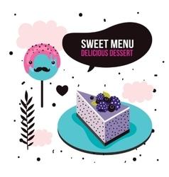 Sweet menu Delicious dessert blackberry cake vector image vector image