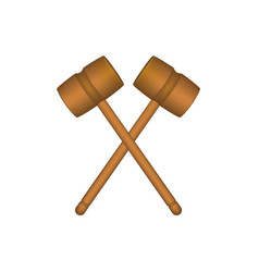 Two crossed wooden mallets in brown design vector