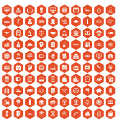 100 loans icons hexagon orange vector