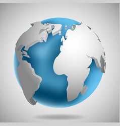 3d earth globe icon with shadow vector