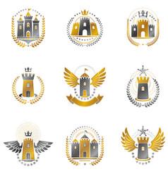 Ancient castles emblems set heraldic coat arms vector
