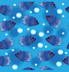 Angel fish seamless pattern underwater background vector