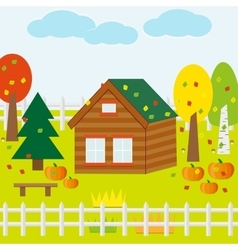 Autumn Garden with House Pumpkins vector