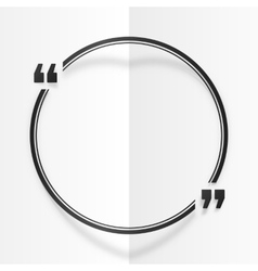 Black round quote frame at white folded paper vector