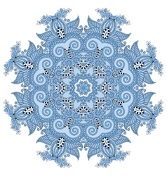 blue colour circular pattern of arabesques floral vector image