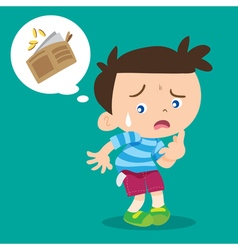 Boy lose money vector