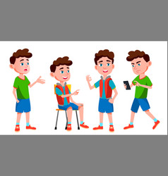 Boy schoolboy kid poses set primary school vector