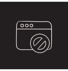 Browser window with no sign sketch icon vector image