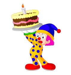 cartoon clown with cake vector image