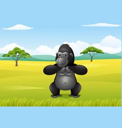 cartoon gorilla in the savannah landscape vector image