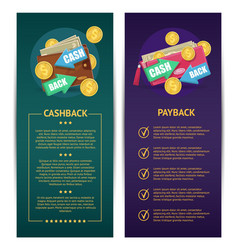 Cashback and payback banners vector