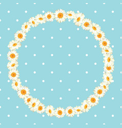 Chamomile pattern on blue polka dot background vector