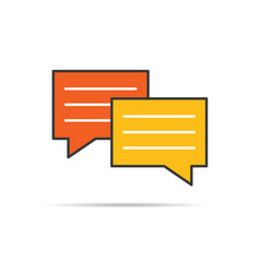 Chat icon in orange and yellow color vector