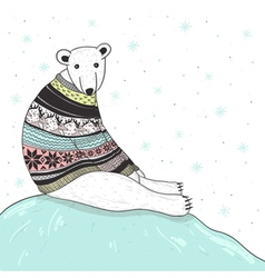 Christmas card with cute polar bear vector