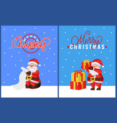 christmas greeting cards with santa and gifts vector image