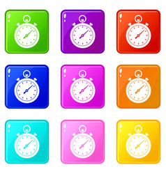 chronometer icons 9 set vector image