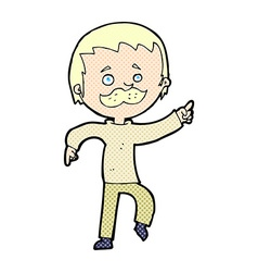 Comic cartoon man with mustache pointing vector