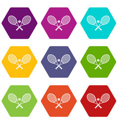 crossed tennis rackets and ball icon set color vector image