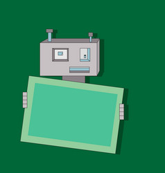 cute cartoon flat robot with banner vector image