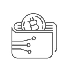 Digital bitcoin wallet thin line symbol icon vector