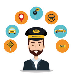 driver taxi service app cartoon icons vector image