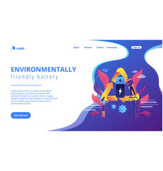 eco battery concept landing page vector image