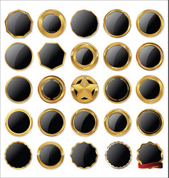 empty gold and black labels vector image