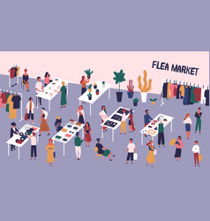 flea or fashion market rag fair with people vector image