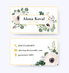 Floral business card design with anemone flowers vector