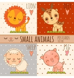 Four simple cute images of animals cartoon style vector