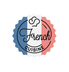 french cuisine logo round linear french flag vector image