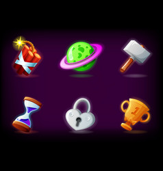 gui video game icons set against dark background vector image