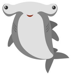 Hammerhead shark with happy face vector