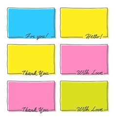 Hand Drawn Frame Set Thank You With Love Hello For vector