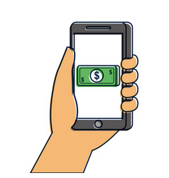 hand holding smartphone banknote money payment vector image