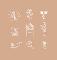Hand made floral icons nature peach vector