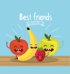 Happy and delicious apples with banana and vector