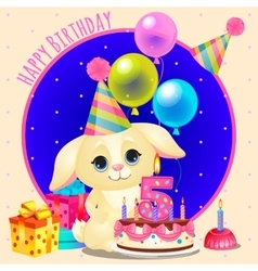 Happy birthday greeting card with cute dog vector