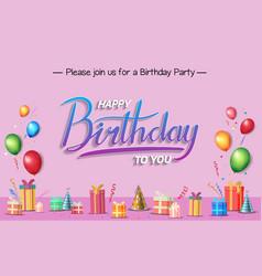 Happy birthday typography blue color vector