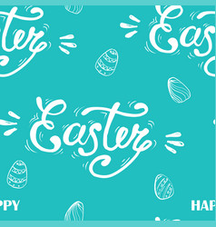 happy easter lettering on seamless background vector image