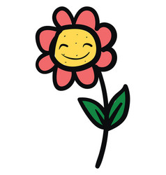 happy flower on white background vector image