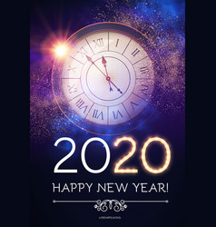 happy hew 2020 year clock fileworks lights and vector image