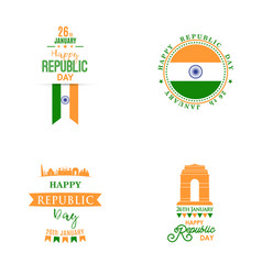 happy indian republic day banners set with text vector image