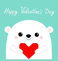 Happy valentines day white bear head face holding vector