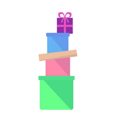 Heap of colorful boxes with gifts flat vector
