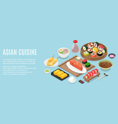 Horizontal banner template with tasty meals vector