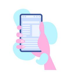 Human hand holding smartphone mobile online vector